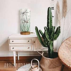 designerska lampa stołowa ważki urocza, vintage, drewno, bawełna, japoński