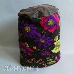 kwiatowa ciepła czapka damska smerfetka, zima, wełna, czapka, ciepła, kwiaty