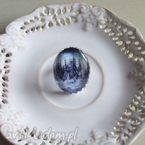 pierścionek z grafiką zimowy las, biżuteria, artystyczna, srebrna