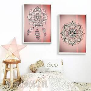 święta, zestaw 2 prac 50x70cm, mandala, piórka, plakat, obrazek, ilustracje