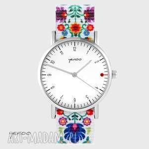 zegarki zegarek - simple, biały folk biały, nato, zegarek, klasyczny, folkowy