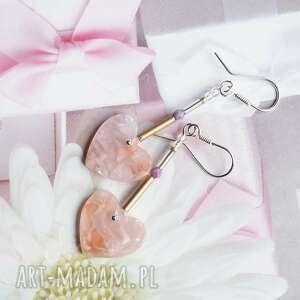 pudrowe serduszka - romantyczne srebrne kolczyki na prezent, srebro