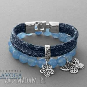 ręcznie robione bransoletki blue jade & snake strap set