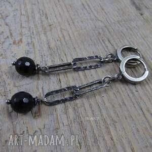 Czarny turmalin - kolczyki, srebro,