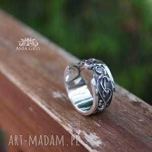 Półotwarty z cyrkonią, pierścionek, obrączka, ażurowy, cyrkonia, srebrny, oksydowany