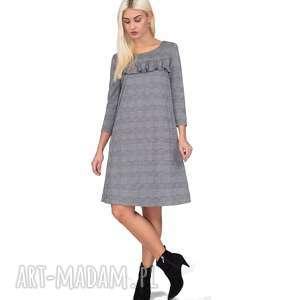 Sukienka KAJA Mini Estera, falbana, krata, trapezowa, mini, rozkloszowana, szara