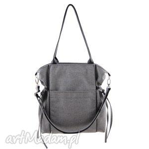 amber - duża torba shopper jasnoszara plecionka, trendy, prezent, niebanalna