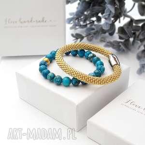 zestaw bransoletek elegance set - jaspis, piękne bransoletki, modna biżuteria