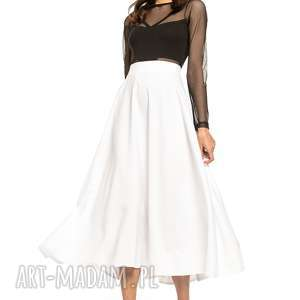 spódnica midi, t260, biały, spódnica, zamek, ozdobny, tkanina