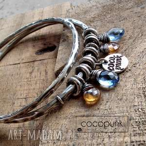 zestaw 2 bransolet - srebro hessonit kwarc cocopunk - codzienna, charmsy