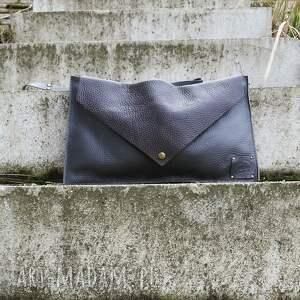 handmade na ramię skórzana torebka kopertówka vintage