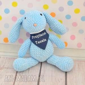 Szydełkowy króliczek błękitny z dedykacją - mały, królik, zając, błękit, niebieski