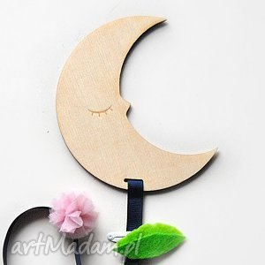 drewniany wieszak organizer na spinki - księżyc ColorofAnka, księżyc, gwiazdka