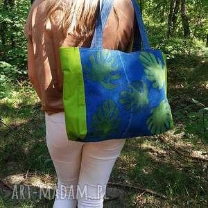 ręczne wykonanie na ramię torba z jeansu ozdobiona ręcznie malowanymi