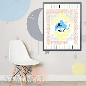 plakat pastelowy kilim ze słonikiem, plakat, słoń, pastelowe, dziecko, dziewczynka