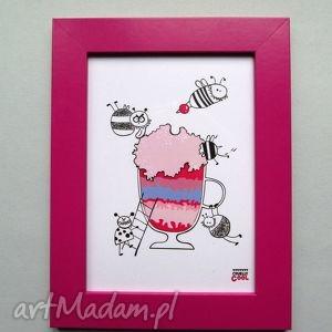 Cherry Dessert , grafika z serii YUMMY! wiśnia, plakat, kuchnia, cherry, deser