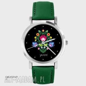 ręczne wykonanie zegarki zegarek - folkowy czarny skórzany, zielony