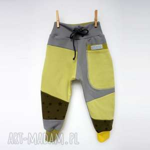 Prezent PATCH PANTS spodnie 74 - 98 cm szary ółty, eco, dresowe, bawełna, wygodne
