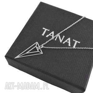 naszyjniki srebrny geometryczny naszyjnik trójkąt pudełko, srebrny