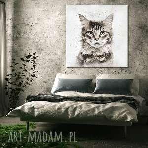 obraz XXL KOT 2 - 100x100cm na płótnie modern, obraz, kot, zwierzęta, loft