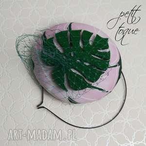 prezenty na święta, petit toque leaf, fascynator, liść, róż, filc