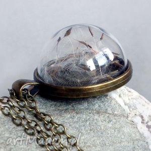 dmuchawcowe terrarium- naszyjnik z prawdziwym dmuchawcem, dmuchawiec, mniszek