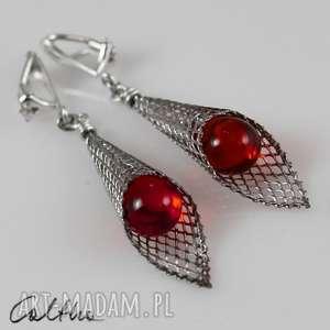 czerwone krople w rożku - klipsy #, kolczyki, klipsy, wiszące, długie