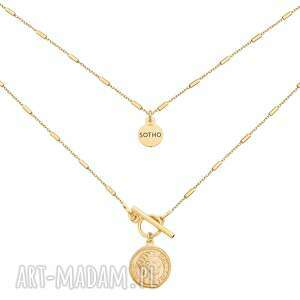 złoty naszyjnik z monetą sotho - złote naszyjniki, nowoczesny
