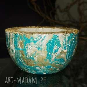 hand-made dekoracje turkusowa miseczka z betonu, świecznik na tealight, przyprawy