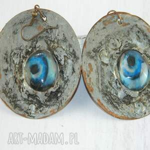 niebieskie oko surona, miedziane kolczyki, biżuteria autorska, unikatowa