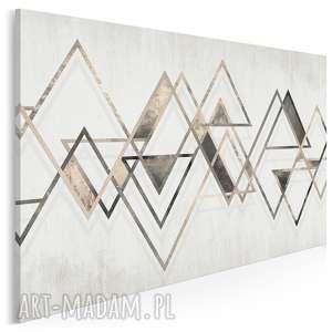 obraz na płótnie - trójkąty beżowy linie 120x80 cm (95401)