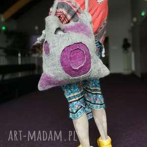 ręcznie robione na ramię torba filcowana szara duza