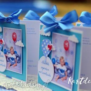 Zaproszenia ze zdjęciem i balonkiem w kropki , zaproszenia, urodzinki