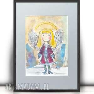 ręcznie malowany obrazek z aniołkiem, aniołek obrazek, akwarela aniołkiem