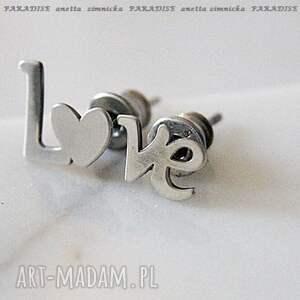 srebro kolczyki, srebrne wyznanie, srebro, napis, serce, sztyfty