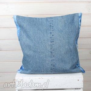 poszewka na poduszkę dżinsowa, poduszka, poszewka, niebieska, salon