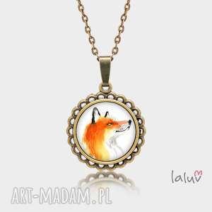 ręcznie zrobione naszyjniki medalion okrągły mały lis