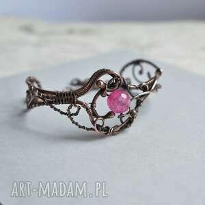 pink agate - bransoletka miedziana z agatem, miedziana