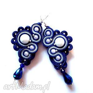 kobaltowe kolczyki sutasz ślimaczki, sutasz, soutache, perełki, kryształki
