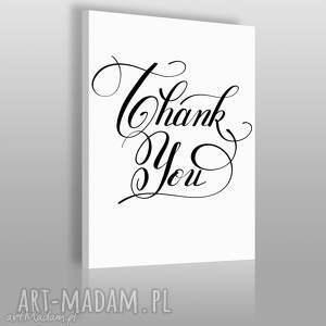 napis na płótnie - thank you 50x70 cm 56831, napis, tekst, czarno-biały, dekoracja