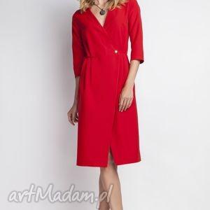 elegancka sukienka, suk131 czerwony, minimalizm, dekoltv, midi, kobieca, seksowna