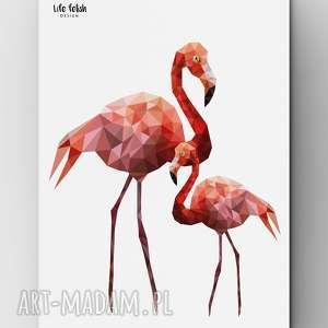 Plakat z flamingami, plakat, flamingi, grafika, flaming, dom, wnętrze