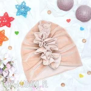 ręcznie wykonane turban velvet beż