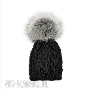 czapka ciemnoszara merynos damska, czapka, zimowa, wełniana, ciepła