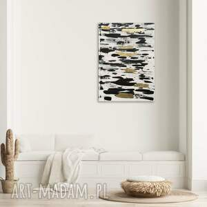 duży obraz - biało czarne pasy ze złotem 100 x 70 cm, obraz, szlagmetal