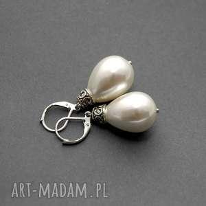 kolczyki z perłą seashell, perła, perełka, wiszące, eleganckie, wieczorowe, delikatne