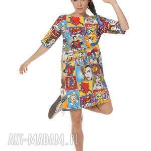 Sukienka superbohaterowie Marvellous, polska-marka, bawełna, ekstrawagancka, sukienka