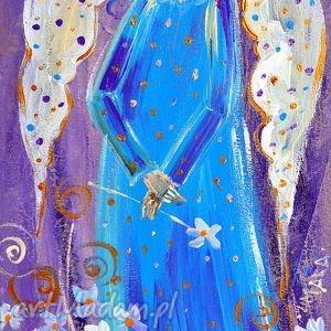 Prezent Anioł z kwiatuszkami, wydruk, obraz, sztuka,