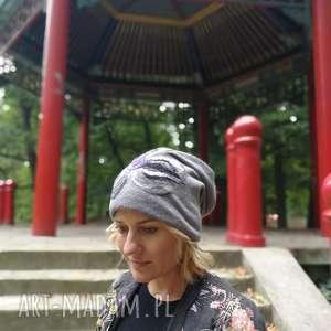 czapka wełniana filcowana szara na podszewce, wełna, etno, boho, szara, kwiaty