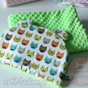 pokoik dziecka komplet do wózka kołderka poduszka zielone koty, komplet